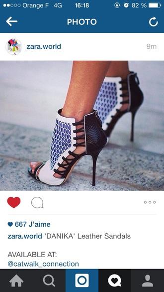 shoes black white blue high heels cute high heels black heels style trendy