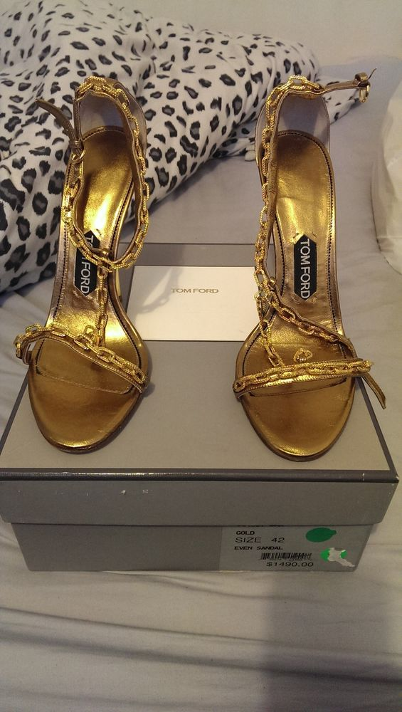 Tom Ford Gold Chain Heel Sandals. Size 42. Authentic 100% | eBay