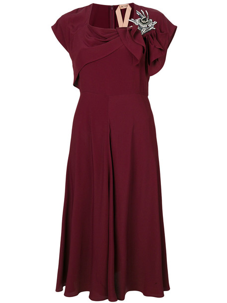 dress bow women embellished silk red