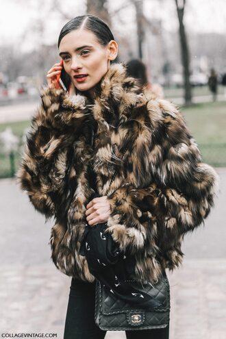 jacket tumblr androgynous fashion week 2017 fashion week street style streetstyle printed jacket fur jacket faux fur jacket printed fur jacket denim jeans black jeans bag black bag chanel chanel bag scarf