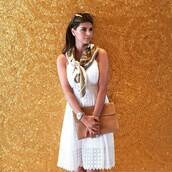 dress,shiva safai,celebrities in white,celebrity,white dress,summer,romantic summer dress,scarf,summer dress,envelope clutch,bag,camel bag