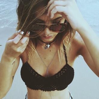 sunglasses style sun bralette beach girl shades crop tops crochet crochet crop top body chain