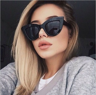 sunglasses girl girly girly wishlist tumblr black black sunglasses cat eye