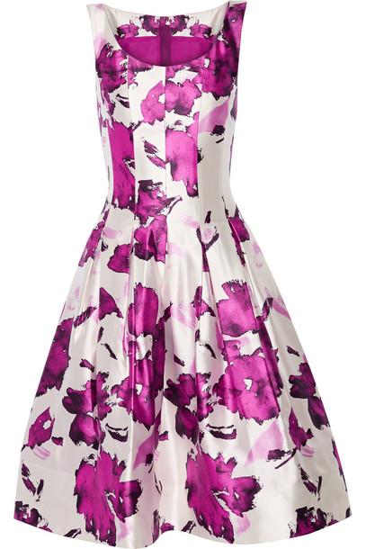 oscar de la renta dress silk dress pleated floral print silk pink magenta