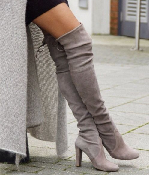 Gray Suede Boots Chunky High Heels Autumn Boots Women Over The ...