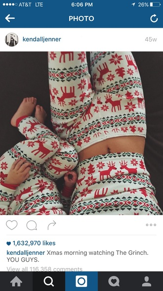 pajamas kendall jenner christmas white green red joggers
