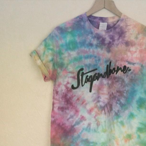 shirt tie dye dye stagandbone stag and bone apparel streetwear t-shirt t-shirt handmade depop bigcartel