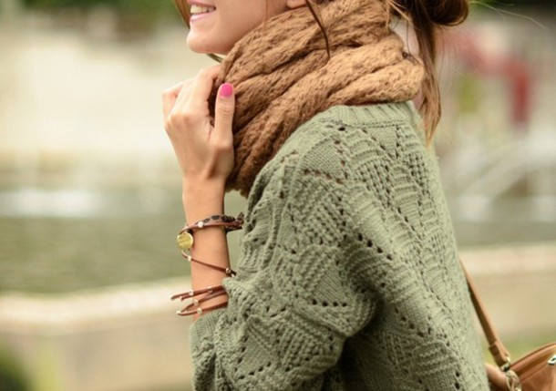sweater green knit loose cool scarf jumper winter outfits comfy cardigan pastel blue bag top fashion fall outfits clothes winter sweater sweater weather green sweater brown brown scarf stylish winter outfits cute girly olive green sweater