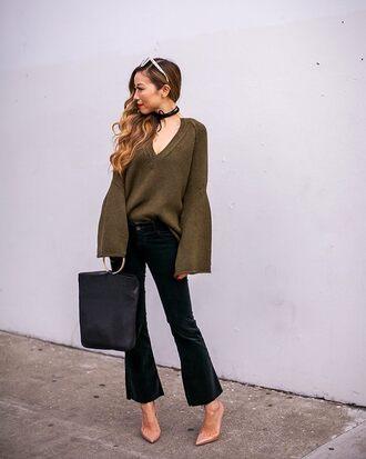 sweater green sweater velvet velvet pants tumblr v neck pants black pants cropped pants pumps pointed toe pumps bag black bag handbag bell sleeve sweater