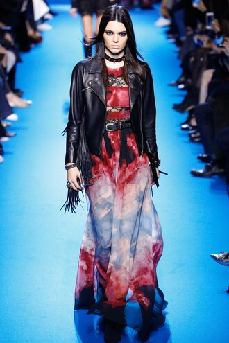 dress gown maxi dress kendall jenner jacket elie saab fashion week 2016 paris fashion week 2016 runway model choker necklace