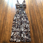 Stunning V-neck Leopard Long Dress DoubleLW small by Lilik Linawati
