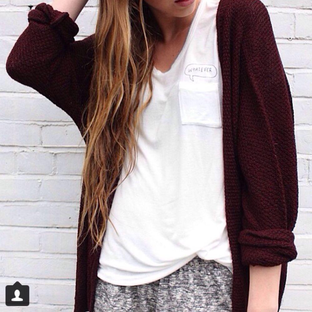 Brandy Melville Maroon Caroline Cardigan Sweater | eBay