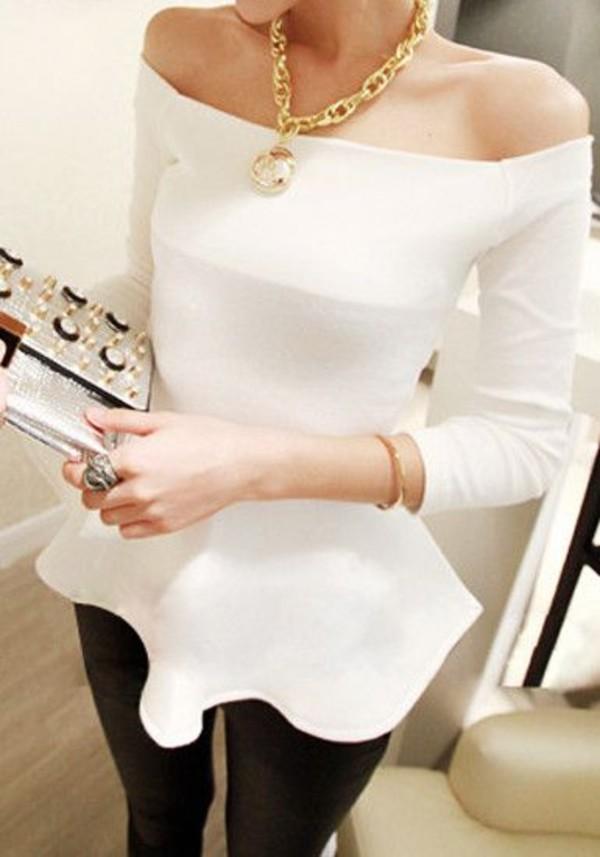 sweater white top  offshoulder shirt girl top beautiful fashion outfit blouse t-shirt peplum leggings jewels