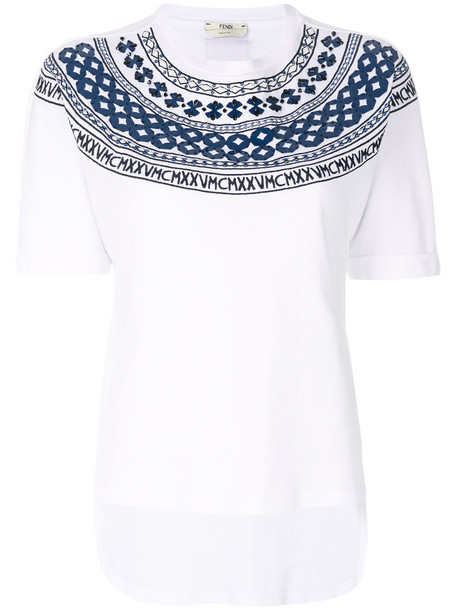 Fendi t-shirt shirt t-shirt mini maxi women white cotton top