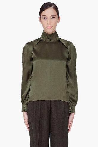 cherry blouse women olive silk clothes shirt