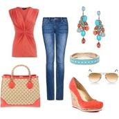 blouse,bag,shoes,jeans