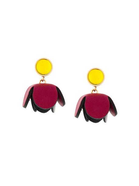 MARNI metal women earrings floral leather purple pink jewels