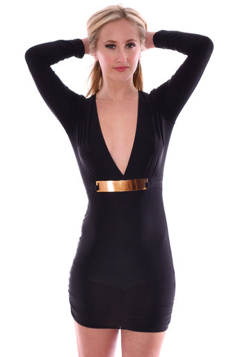 Womens Bonnie Long Sleeve Front Buckle Bodycon Dress In Black