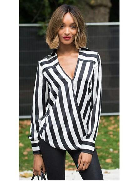 stripes blouse jourdan dunn fashion week 2014 streetstyle black and white