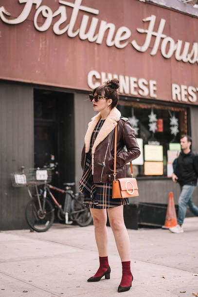 dress tumblr tartan tartan dress mini dress jacket shearling jacket shearling brown jacket socks bag shoulder bag