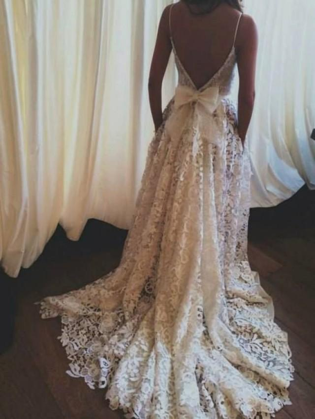 Lace Wedding Dress Backless Boho Gown Vintage