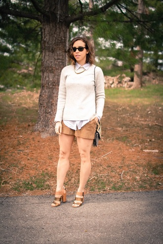 oh va darling blogger shorts sweater metallic shoes