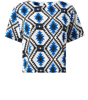 Cameo Rose Cream and Blue Diamond Aztec Print Boxy Top