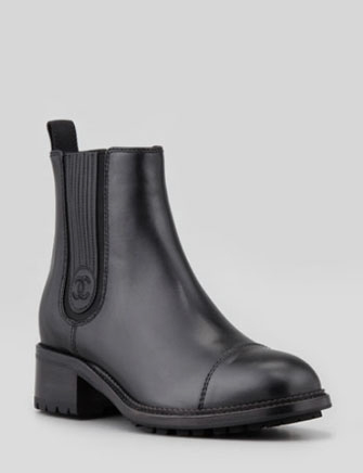 Chanel Leather Gore Ankle Boots in Black - Avenue K