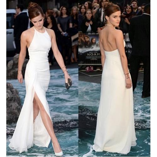 Emma watson white halter formal prom dress 'noah' london premiere