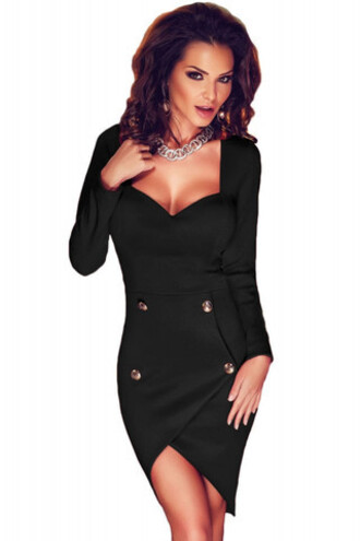 dress discounted dresses calssy cocktail dress birthday dress wots-hot-right-now black dress open back buttons plunge v neck cleavage evening dress party dress