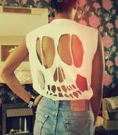 shirt,t-shirt,clothes,hipster,punk,skull t-shirt,white tank top,cut out skull in the back,skeleton,cut-out,white,cute,halloween,skull,ripped,design,torn,eyes,nose,teeth,denim,watch,back,skull white diy shirt t-shirt cut off,cut diy hipster