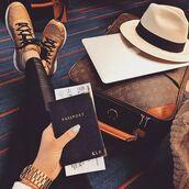 hat,passport cover,black,pants,black pants,sneakers,gold sneakers,louis vuitton,travel bag,felt hat,white hat
