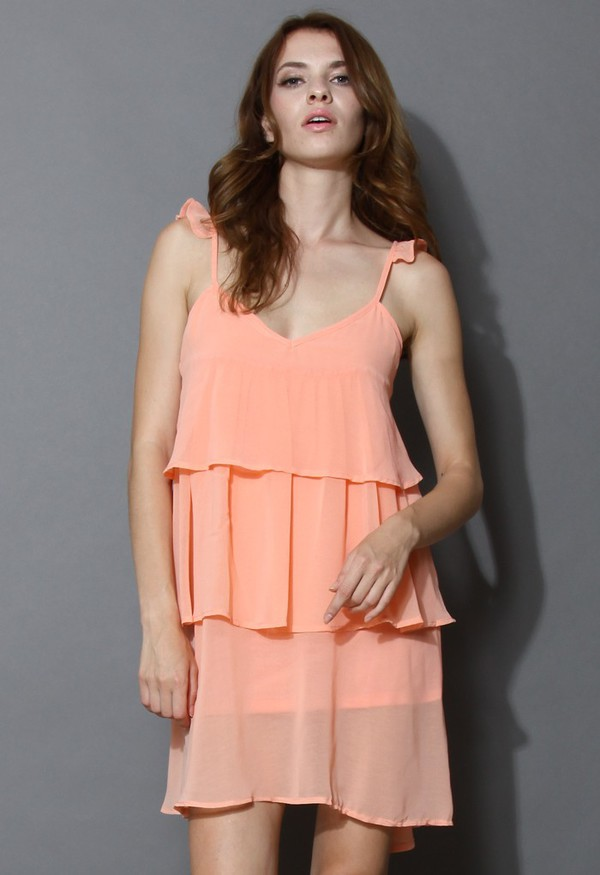 chicwish layered chiffon dress peach pink