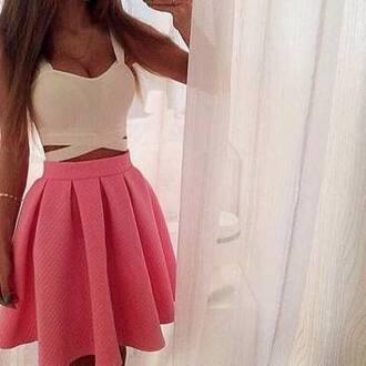 tank top cute sexy summer pink white skirt