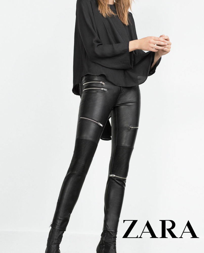 9f69b072 ZARA FAUX LEATHER BIKER TROUSERS WITH ZIPS AND QUILTED PANELS