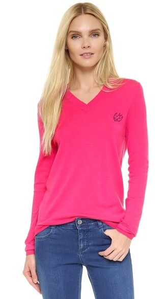 pullover v neck pink sweater