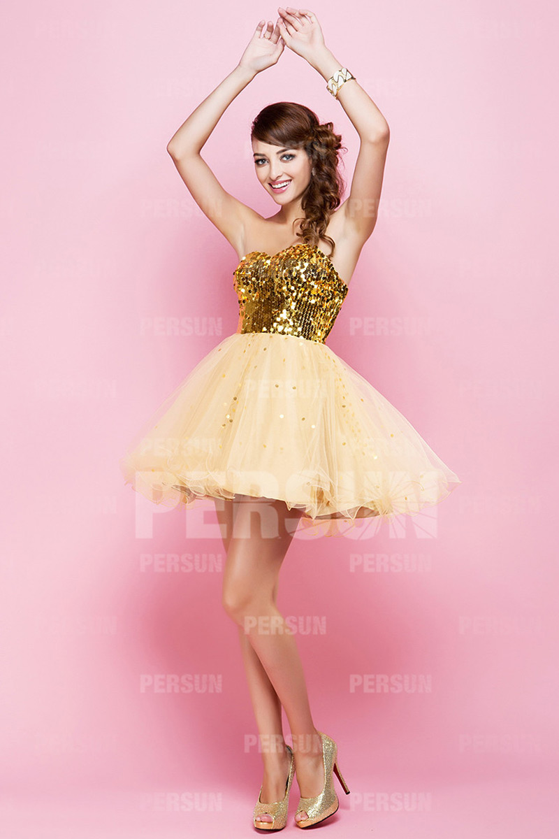 Short Yellow tone Vintage Sleeveless Empire Sequin Sequin Party dress [PCBB0184] - PersunMall.com