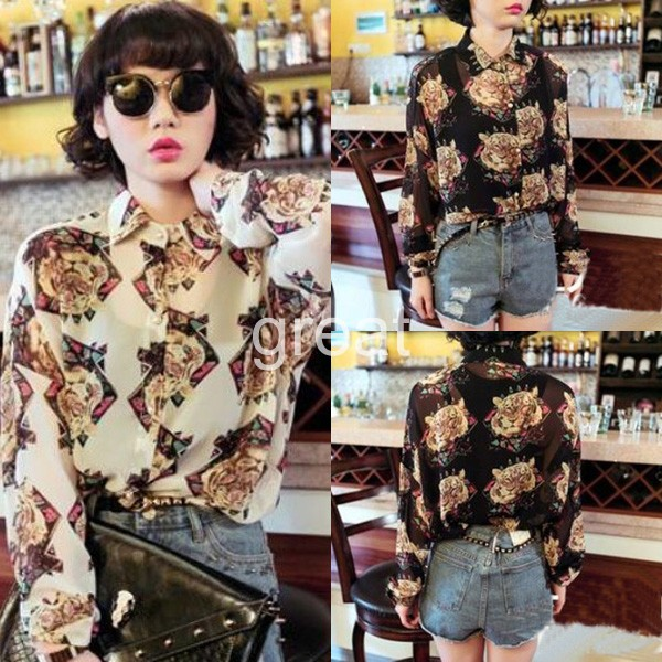 2014  Fashion Women Tiger Head Printed Chiffon Turn Down Collar Blouse Tee Shirt Black White Tops-in Blouses & Shirts from Apparel & Accessories on Aliexpress.com
