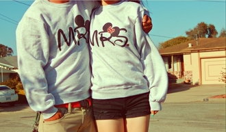 sweater couple couple sweaters grey mickey mouse mr. mrs.