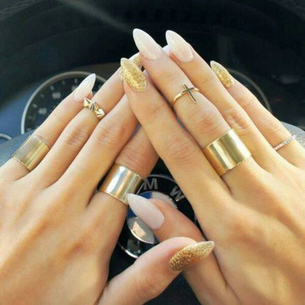 jewels ring gold nail polish cross gold ring knuckle ring nail accessories
