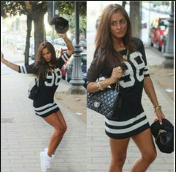dress jersey dress stripes black t-shirt white dress style long dress swag sexy dress