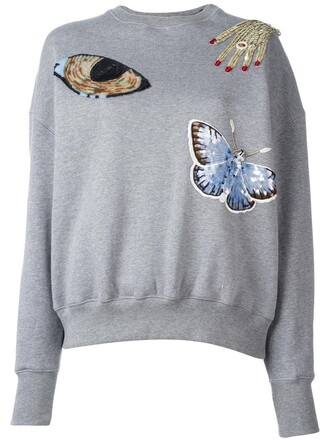 sweatshirt metal women plastic embellished cotton grey sweater
