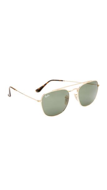 Ray-Ban Square Aviator Sunglasses - Shiny Gold/Green