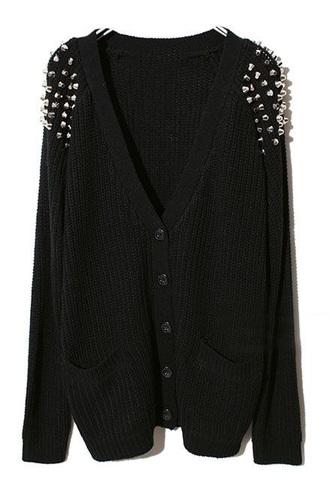 cardigan black cardigan studs