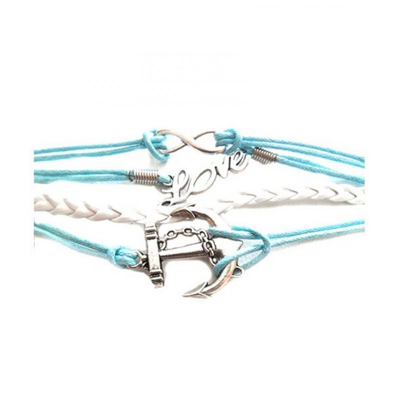 bracelet qui r uni plusieurs bracelet en cordes avec les signes love infini. Black Bedroom Furniture Sets. Home Design Ideas