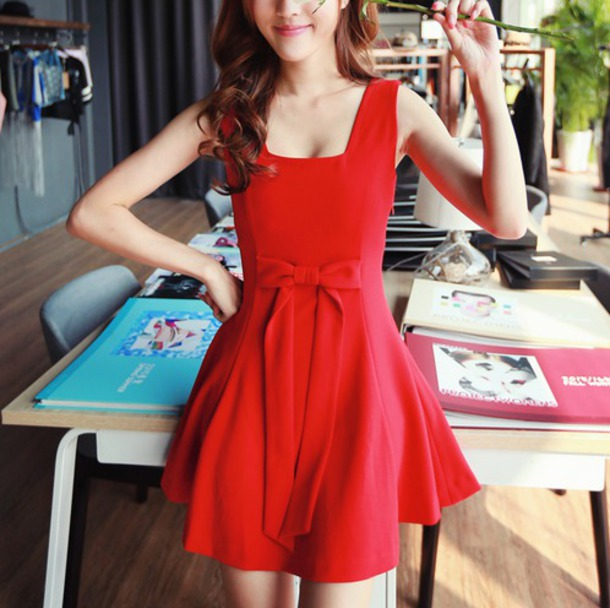 dress red dress beautiful red dress bow dress square neckline