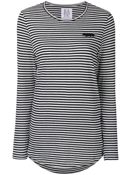 Zoe Karssen - embroidered striped top - women - Modal/Cotton - S, Black, Modal/Cotton