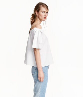 shirt white blouse off the shoulder