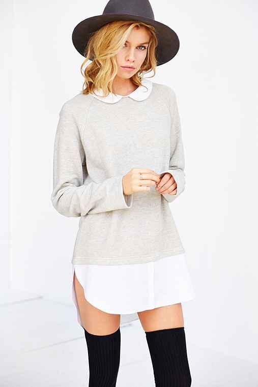 Cooperative layered collared tunic top