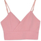 Pink zipper back spaghetti strap v-neck crop top - choies.com